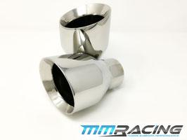 MMR 2x Edelstahl Endrohre 60 / 100mm silber / poliert