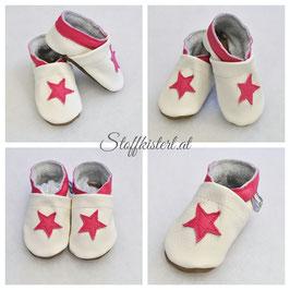 Lederpuschen PINK STAR