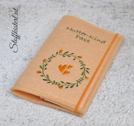 Mutter-Kind-Pass Hülle Blumenkranz ORANGE