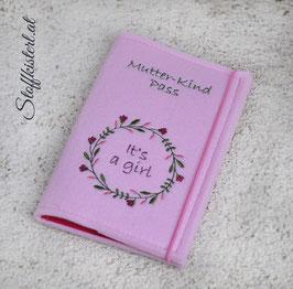 Mutter-Kind-Pass Hülle Blumenkranz ROSA