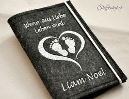 Mutter-Kind-Pass Hülle Herz mit Füßchen