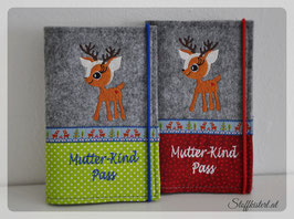 Mutter-Kind-Pass Hülle Rehlein mit Stoff- und Webbanddekor