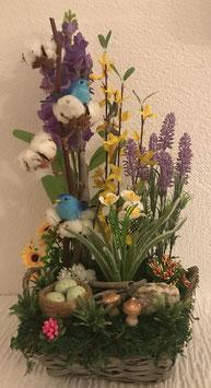 Osterkorb Vögel Blau