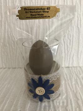 Eierkerze im Glas Blume klein dunkelblau