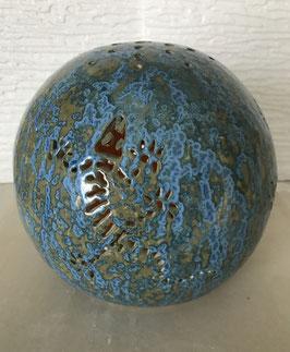 Kugel Eidechse Keramik hellblau