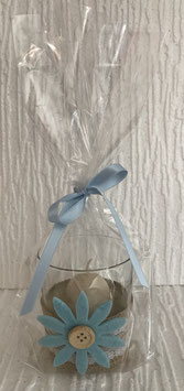 Eierkerze im Glas Blume hellblau