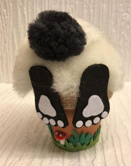 Hase im Blumentopf klein weiss schwarz