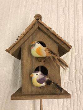 Vogelhäuschen Vögel violett/gelb