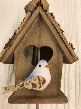 Vogelhäuschen Vogel weiss/hellblau