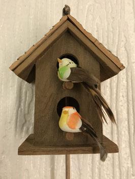Vogelhäuschen Vögel grün/orange