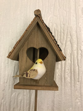 Vogelhäuschen Vogel weiss/gelb
