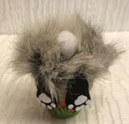Hase im Blumentopf mini grau weiss