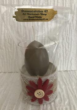 Eierkerze im Glas Blume klein rot