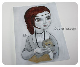 Demoiselle à l'Hermine, carte postale