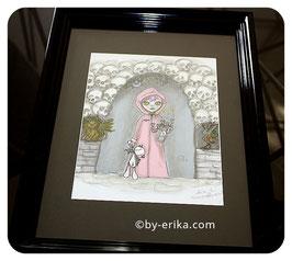 Damoiselle Zéphérine dans les catacombes, illustration encadrée