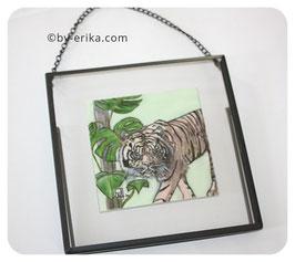 Tigre au Monstera, crayon et encre encadrée