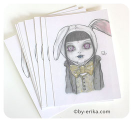 Le lapin blanc carte postale