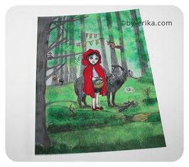 Le petit chaperon rouge, carte postale