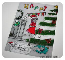 Damoiselle Zéphérine fête un Happy truc de Noël, carte postale