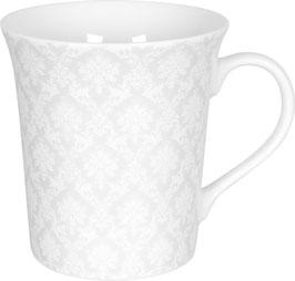 Porzellan Becher WHITE SILENCE DAMASK