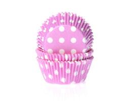 Papirčki za mafine - pink z belimi pikami