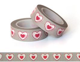Washi lepilni trak - črtast vzorček z rdečimi srci