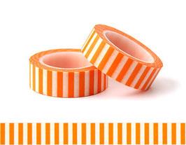 Washi lepilni trak - črtast oranžno-bel vzorec