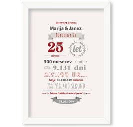 Individualizirana grafika ob srebrni poroki - v rdeči barvi