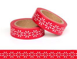 Washi lepilni trak - rdeč z belimi rožicami – marjeticami
