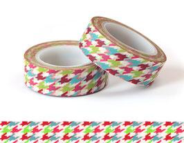 Washi lepilni trak - modro-rdeče-zelen tekstilni vzorec