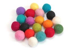 Set 20 barvnih kroglic iz filca - pisane barve
