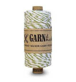 Bombažna dekorativna vrvica garn - zeleno-bela