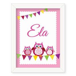 "Individualizirana otroška grafika z motivom sovice ""Ela"""