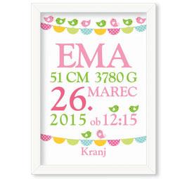 """Individualizirana grafika ob rojstvu deklice z motivom zastavic in ptičkov """"Ema"""""""