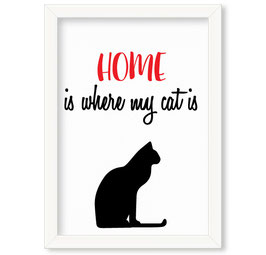 "Grafika ""Home is where my cat is"""
