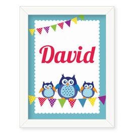 "Individualizirana otroška grafika z motivom sovice ""David"""