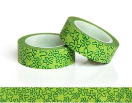 Washi lepilni trak - zelen z zelenimi rožicami
