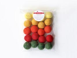 Set 20 barvnih kroglic iz filca - pomladne barve