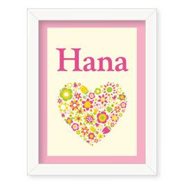 """Individualizirana otroška grafika z motivom cvetličnega srčka """"Hana"""""""