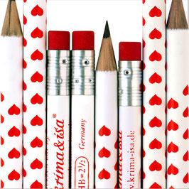 Svinčnik - bel z rdečimi srčki