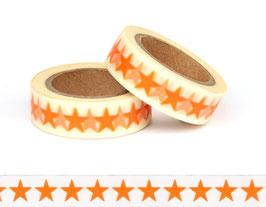Washi lepilni trak - oranžne zvezde