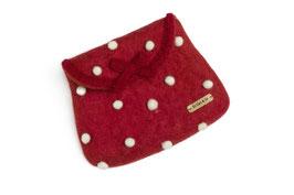Toaletna torbica - rdeča z belimi pikicami