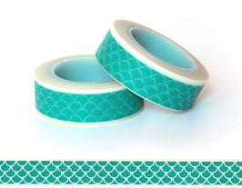 Washi lepilni trak - zeleno-moder z vzorcem lusk