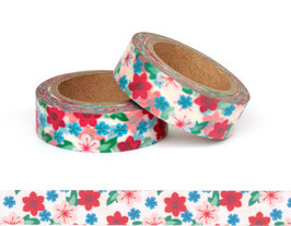Washi lepilni trak - roza-zeleno-modre pastelne cvetlice