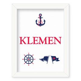 """Individualizirana deška grafika z mornarskim motivom """"Klemen"""""""