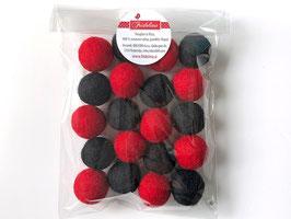Set 20 barvnih kroglic iz filca - rdeče črn