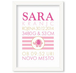 """Individualizirana grafika ob rojstvu deklice z motivom slončka """"Sara"""""""