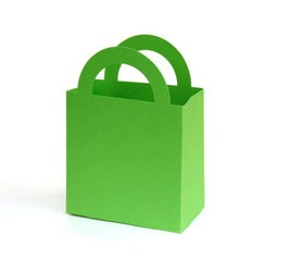 Darilna papirnata vrečka v zeleni barvi (jabolko)