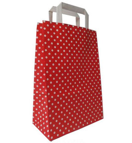 Papirnata vrečica - rdeča z belimi pikicami