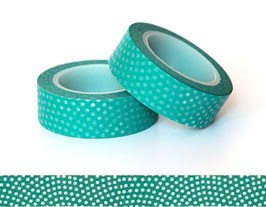 Washi lepilni trak - modro-zelen z belimi pikicami